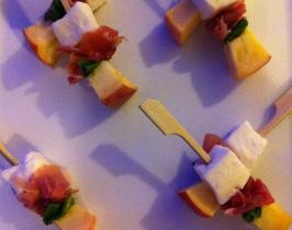 •	Tiny bamboo skewers of buffalo mozzarella, peach, mint and prosciutto